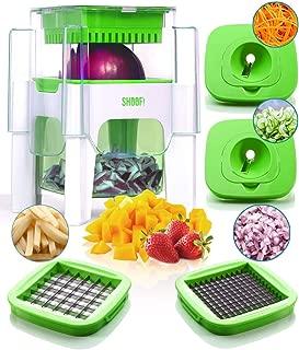 4-in-1 Vegetable Chopper for Onion, Potato, Veggie, Fruit – French Fry Cutter, Dicer, Spiralizer (Green)