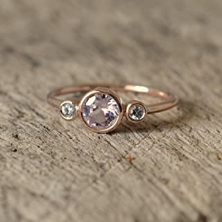 Round peach champagne sapphire 3 stones rose gold bezel ring two side white sapphires