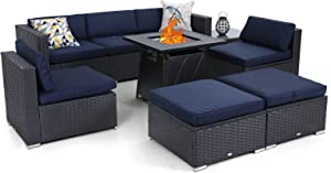Sophia & William Patio Furniture Sectional Sofa with Gas Fire Pit Table 9 Piece Wicker Rattan Outdoor Conversation Sets W/Coffee Table, CSA Approved Propane Fire Pit(Navy Blue-Square Table)
