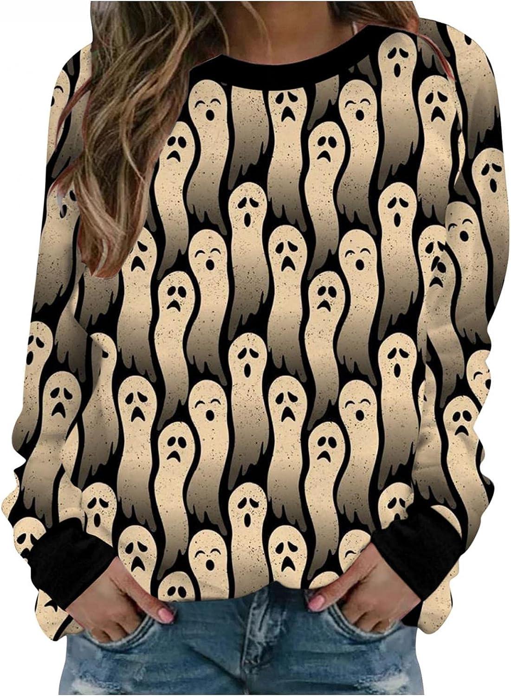 Halloween Sweaters for Women, Womens Sweatshirts Plus Size Crew Neck Funny Cute Pumpkin Black Cat Ghost Pullover Tops