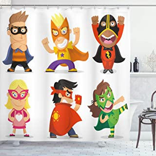 Ambesonne Superhero Shower Curtain, Children Dressed as Superheroes Kids Playroom Girls Boys Nursery Babyish Picture, Fabric Bathroom Decor Set with Hooks, 70 Inches, Multicolor