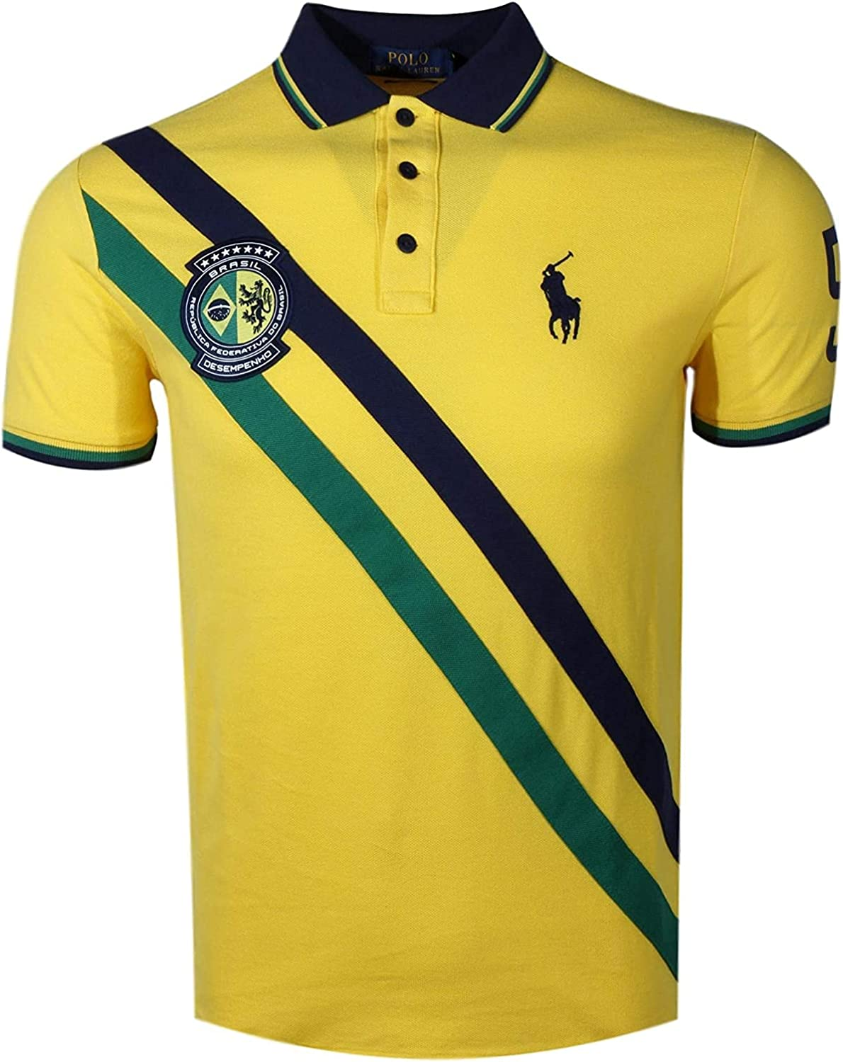 Polo Ralph Lauren Mens Custom Slim Fit Country Polo- Spring 2019 (X-Large, Brazil Yellow)