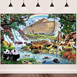 New Animal Background FHZON 7x5ft Noah s Ark Backdrop Panda Boat Rainbow Background for Photography Outdoor Style Theme Pa...