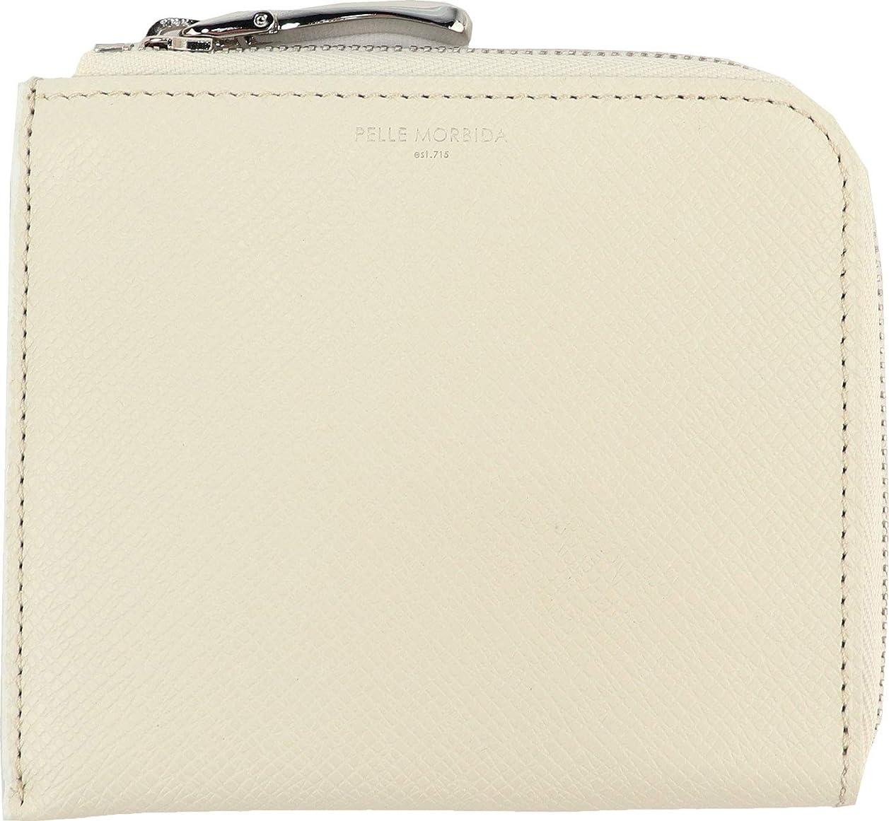 真実に一般的に言えば組[PELLE MORBIDA ペッレモルビダ] 型押しレザー L字ジップ ミニ財布 PMO-BA313 WHT(ホワイト)
