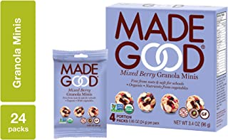 MadeGood Mixed Berry Granola Minis, 6 Boxes (0.85 oz, 24 ct); Organic, Gluten Free, Allergy Friendly, Non-GMO, Nut Free, Crunchy Yet Chewy Granola Clusters of Oats and Berries