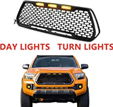 Haitzu Replacement Grill Front Grille Honeycomb Fit for 2016 2017 2018 2019 Toyota Tacoma TRD PRO with 3 Amber LED Lights,...