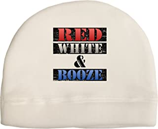 TooLoud Red White & Booze Adult Fleece Beanie Cap Hat