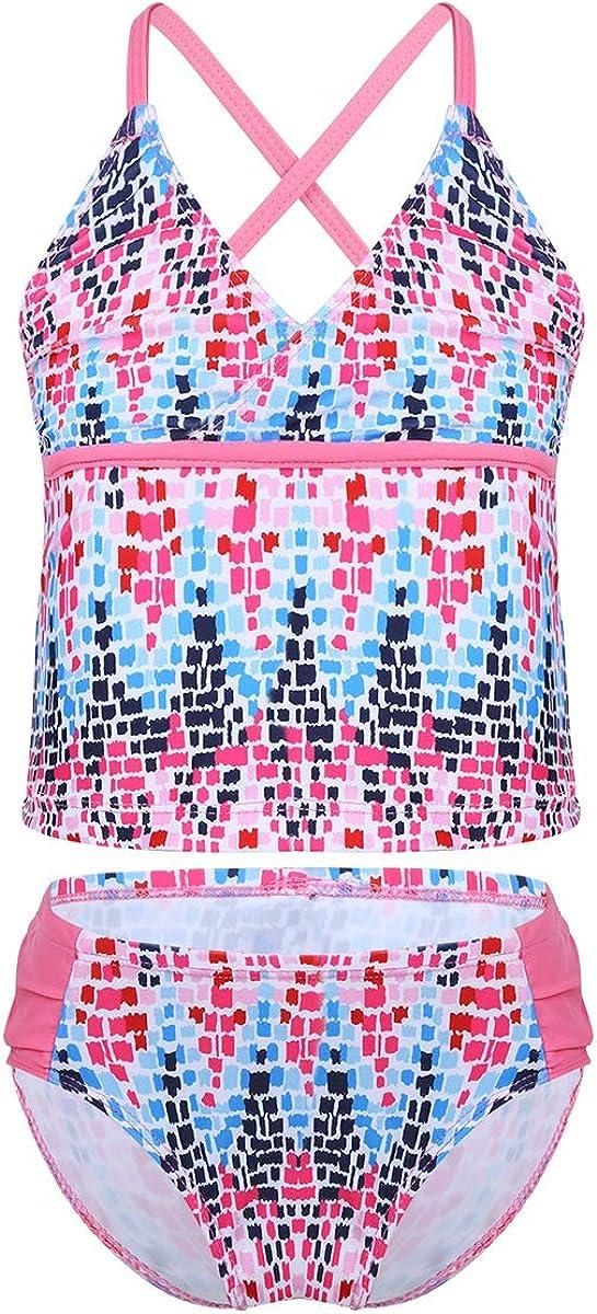 Free shipping anywhere in the nation Kaerm Big Girls Floral Tie Dye Cross Bikini Set Cirss Tank Ranking TOP5 Back