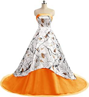 APXPF Women's Camo Printed Wedding Dress Tulle Ball Gown Prom Party Quinceanera Dress