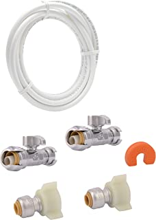 SharkBite 25538A Faucet Installation Kit with Water Valve Shut Off, Quarter Turn, Straight Stop Push-to-Connect, PEX, Copper, CPVC, PE-RT