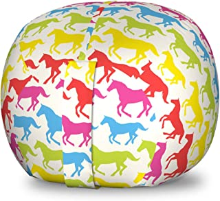 Ambesonne Horses Storage Toy Bag Chair, Rainbow Colors Giddy Pony Animal Art Retro Design Pattern Abstract Wild and Free, Stuffed Animal Organizer Washable Bag for Kids, Small Size, Pink Blue