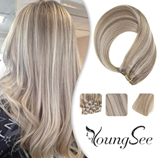 YoungSee 20inch Highlighted Clip in Hair Extensions Remy Human Hair Colored Golden Blonde Mixed Dark Ash Blonde Double Weft Clip in Hair Extensions 120g 7pcs