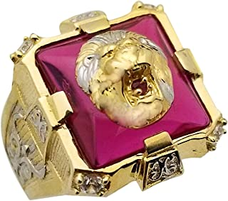 AMZ Jewelry Mens Lion Head Ring 10K Yellow Gold Lion Face Ring