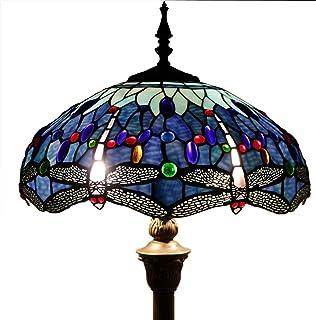 KFJZGZZ Lampe sur pied style Tiffany avec perles de cristal et abat-jour en forme de libellule E27, base en résine pour sa...