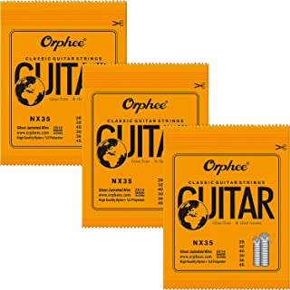 3 Packs Full Set Replacement Orphee NX35 Clear Nylon Silver Plated Classical Guitar Strings Hard Tension (.028-.045)