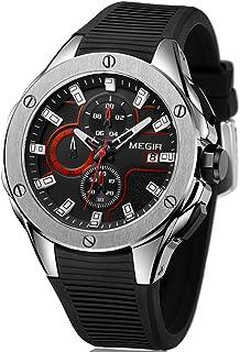 MEGIR Men's Military Sports Watches Fashion Silicone Strap Wristwatch Luxury Waterproof Luminous Chronograph Quartz Watch Man
