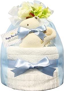 KanonBabys おむつケーキ [ 男の子向け/今治タオル : オーガニック / 2段 ] パンパースS22枚 (出産祝いに大人気) ダイパーケーキ ギフト 誕生日プレゼント 赤ちゃんの内祝い にもおすすめ