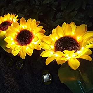 Solar Lights Outdoor Decorative Waterproof Flowers, 2Packs Sunflower LED Lawn Stake Solar Lamps Night Light for Pathway, G...
