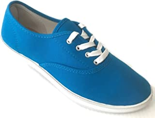 Easy USA Womens Lace up Canvas Plimsol Sneakers Shoes Turquoise 9
