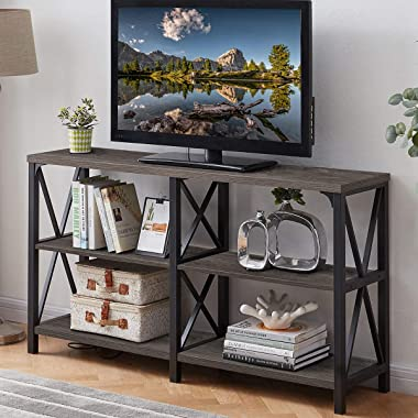 LVB Industrial Console Table, Rustic Wood and Metal Sofa Table, Hallway Entry Table for Home Living Room, Foyer Accent Entryw