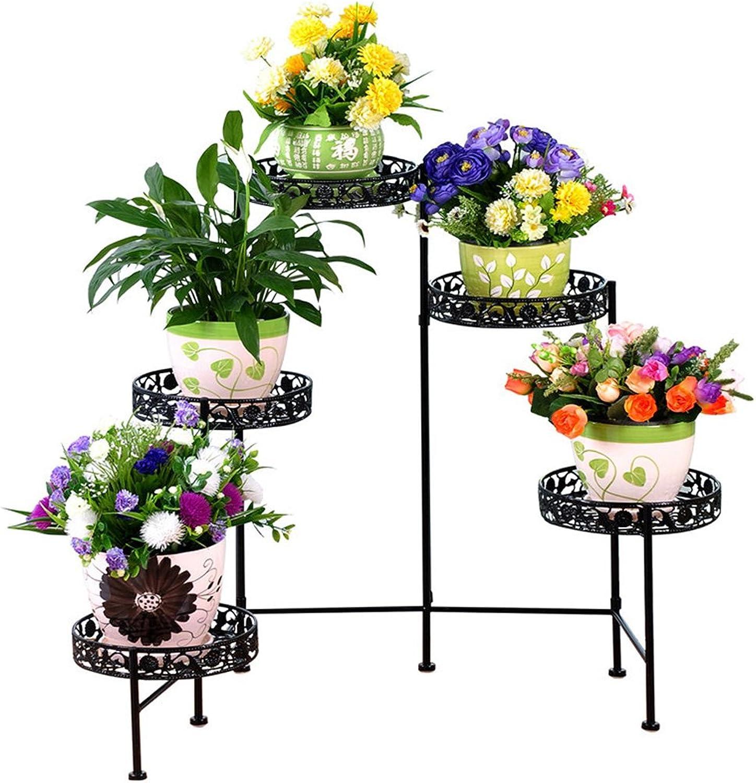 Wrought Iron Flower Pot Five-Pot Pot Rack Indoor Balcony Living Room Floor Promotion Multilayer European Green Flower Stand (color   Black)