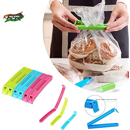 E-COSMOS 18 Pcs - 3 Different Size Plastic Food Snack Bag Pouch Clip Sealer Large, Medium, Small Plastic Snack Seal Sealing Bag Clips Vacuum Sealer (Set of 18, Multi-Color), Mix Size