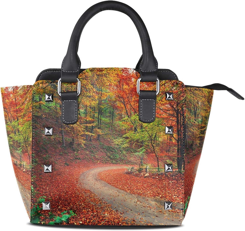 My Little Nest Women's Top Handle Satchel Handbag colorful Forest Scene Ladies PU Leather Shoulder Bag Crossbody Bag