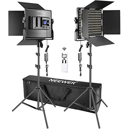 Neewer 2-Pack 10,6 po Lampes Vid/éo LED Rondes avec 2,4G sans Fil et Support d/Éclairage Kit Batterie Non Incluse 30W 3200-5600K /Éclairage Bicolore Dimmable pour Prise de Vue Youtube