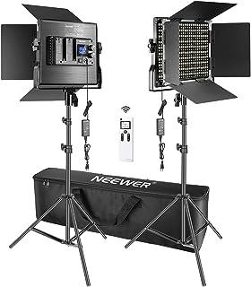 Neewer 2 Packs Avanzado 2,4G 660 LED Video Luz Fotografía Kit Iluminación con Bolsa Panel LED Bicolor Regulable con Control Remoto Inalámbrico 2,4G Pantalla LCD y Soporte de Luz