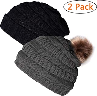 Ousipps 2 Pack Winter Hats for Women, Soft & Warm Slouchy Pompom Beanie Cap