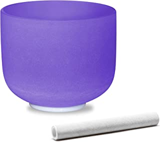 Sponsored Ad - ALIOTH Purple B note Crown Chakra Crystal Singing Bowl Sound bowl 8 inch with Sound Bowl Suede Striker for ...