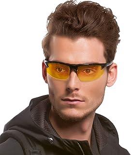 852045f359 Deporte Gafas de HD Visión para Conduccion Nocturna Hombre Polarizadas  Lente Amarilla Anti Reflectante Ultraligero Metal