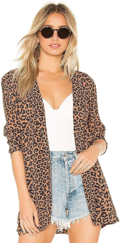Beach Riot Blake Leopard Print Open Front Casual Blazer