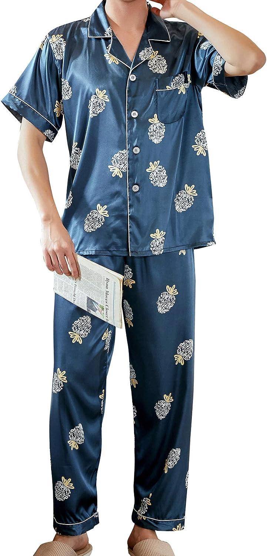 Mens Pajamas Set Button Down Floral Silk Short Sleeve Sleepwear Nightwear 2 Piece Set