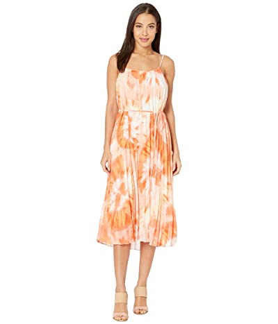American Rose Portia Pleated Floral Midi Dress (Ivory/Coral) Women