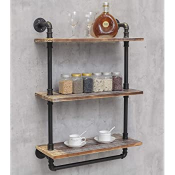 "Industrial Retro Wall Mounted Iron Water Pipe Shelf - Hung Bracket - DIY Storage Shelving Bookshelf - Wood Shelf (24"" Width Wall Bookcases)"