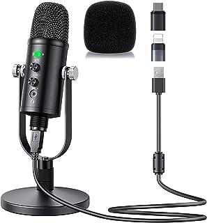 میکروفن خازنی USB Mercase برای کامپیوتر / میکرو / مک / iOS / آندروید با لغو سر و صدا و Reverb برای ضبط صدا و موسیقی ، پادکست ، پخش جریانی ، بازی