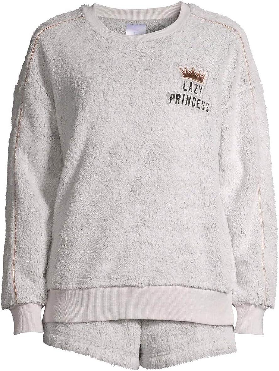 Lazy Princess Medium Grey Heather Plush Top & Boxers Pajama Sleep Set