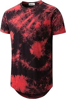 Mens Hip Hop Tie-Dyed Hipster Curve Hem T Shirt