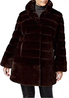 Women's Winter Church Brown Soft Faux-Fur Coat Jacket Size XL New