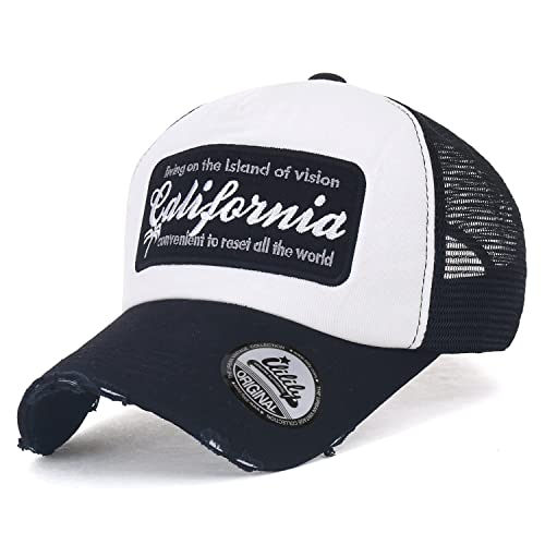 5ae31e848e9 ililily California Embroidery Vintage Distressed Mesh Trucker Hat Baseball  Cap