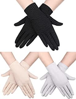 UNIUNITWO 3 Pairs Women Sun Protective Gloves UV Protection Sunblock Gloves Touchscreen Gloves for Summer Driving Riding (...
