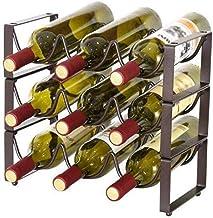 Metalen Wijn Houder Vrijstaande Wijn Opbergrek Wijnrek Vrijstaande Vloer WoodWine Fles Houder-Moderne Minimalistische Woni...