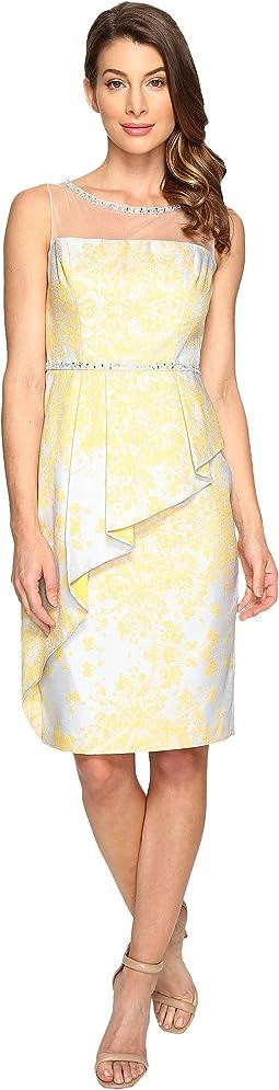 Jacquard Sheath Dress w/ Cascade Peplum