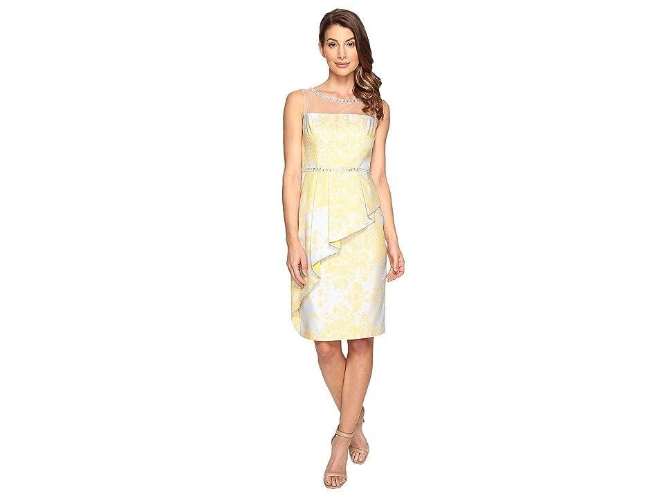Adrianna Papell Jacquard Sheath Dress w/ Cascade Peplum (Sunbeam Multi) Women