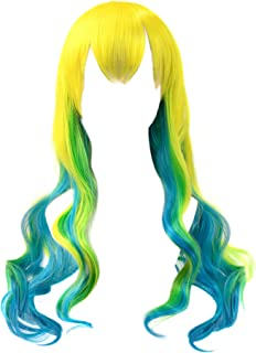 DAZCOS Multicolor Yellow Green Maid Dragon Lucoa Cosplay Curly Wig