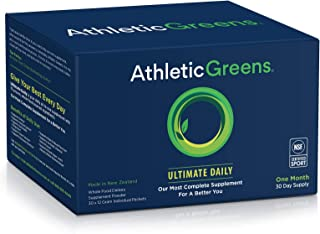 Athletic Greens Ultimate Daily, Whole Food Sourced All in One Greens Supplement, Superfood Powder, Gluten Free, Vegan and ...