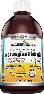Amazing Omega Norwegian Fish Oil 16 Oz 473 Ml Fresh Lemon Flavor - supports anti-inflammatory, heart, joint and brain health
