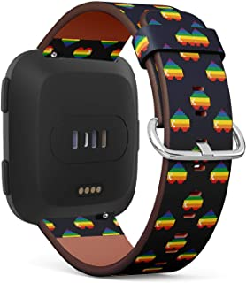 LGBT Gay Pride Rainbow Pixel Hearts - Patterned Leather Wristband Strap Compatible with Fitbit Versa