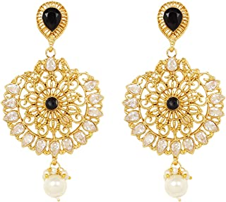 Ratna Indian Bollywood Ethnic Gold Tone Partywear Bridal 4 Different Colour Stone Polki Earrings Women Wedding Jewelry (Red)